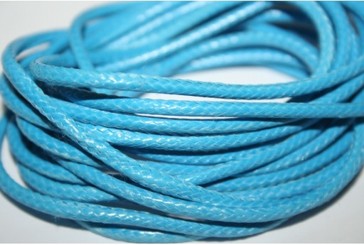 Waxed Polyester Cord 1mm, 12mt. Light Blue MIN125D