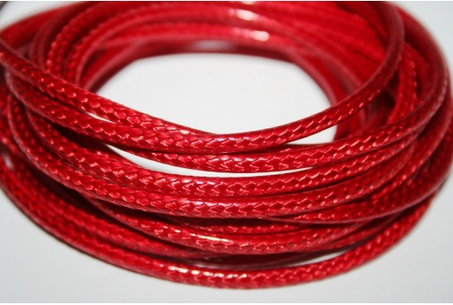 Waxed Polyester Cord 1mm, 12mt. Red MIN125F
