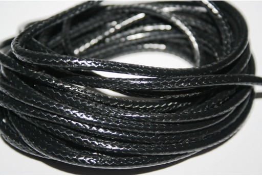 Waxed Polyester Cord 1mm, 12mt. Black MIN125H