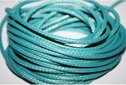 Waxed Polyester Cord 1mm, 12mt. Teal Green MIN125M