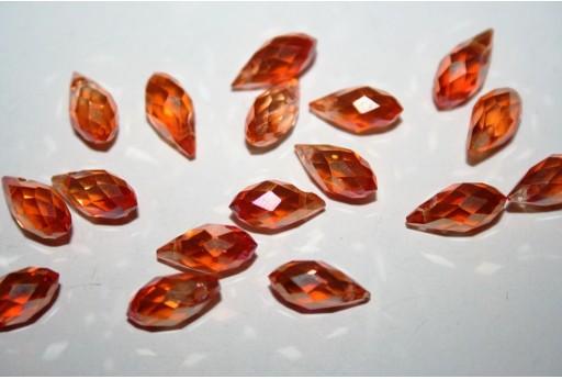 Perline Cristallo Gocce Arancio 13x6mm - 15pz