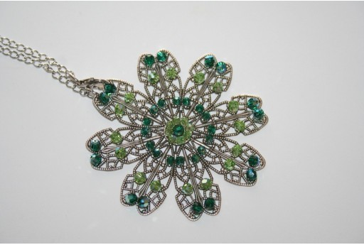 Flower Filigree and Swarovski Crystals - Necklace Kit