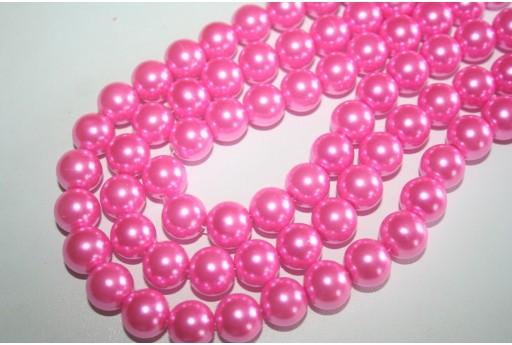 Perline Vetro Rosa Confetto Sfera 12mm - Filo 34pz