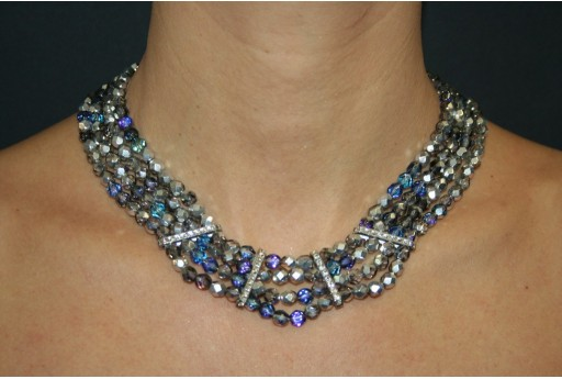 Fire Polished Beads and Swarovski Bars Blue Star - Necklace Kit