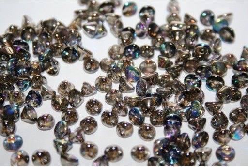 Perline Button Bead Crystal Graphite Rainbow 4mm - 50pz