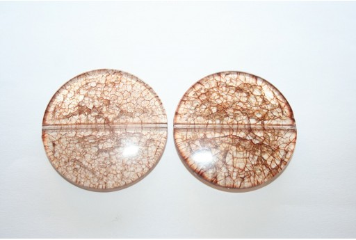 Acrylic Beads Cracked Brown Pastille 40mm - 2pz.