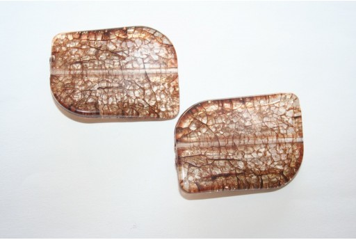 Acrylic Beads Cracked Brown Rectangle 44x32mm - 2pz.