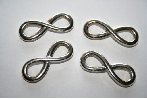 Silver Plated Infinity Symbol Connectors 30x12mm - 4pcs