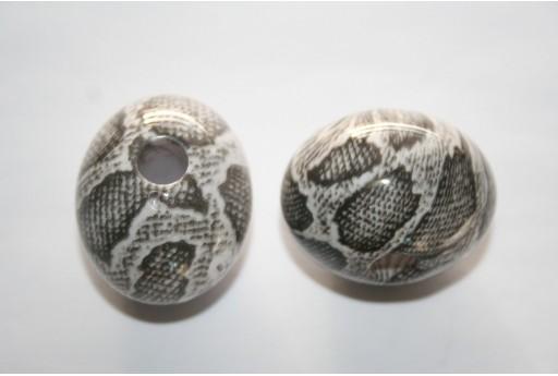 2 Acrylic Beads Grey Oval 28x36mm