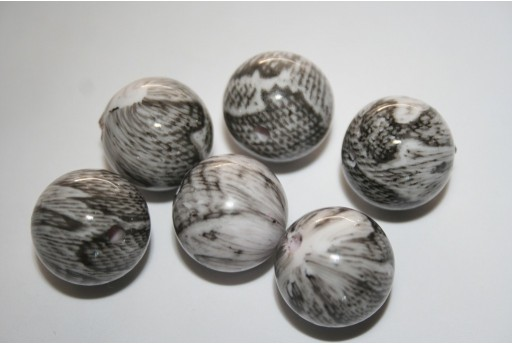 10 Acrylic Beads Grey Sphere 18mm