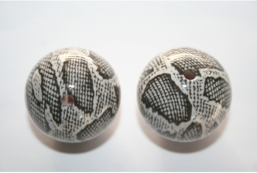 2 Acrylic Beads Grey Sphere 28mm