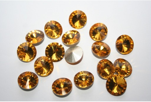 Glass Cabochon Crystal Round Topaz 12mm - 4pz