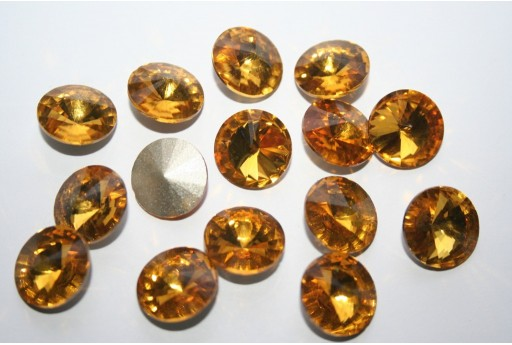 Glass Cabochon Crystal Round Topaz 14mm - 4pz