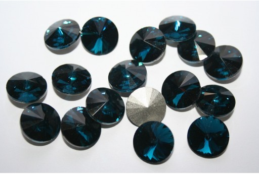 Glass Cabochon Crystal Round Petroleum Blue 14mm - 4pz