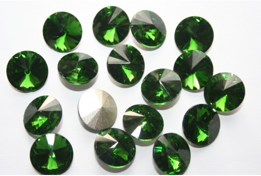 Glass Cabochon Crystal Round Green 14mm - 4pz