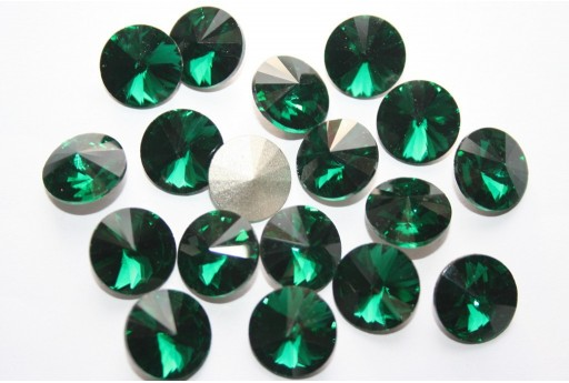 Glass Cabochon Crystal Round Emerald 14mm - 4pz
