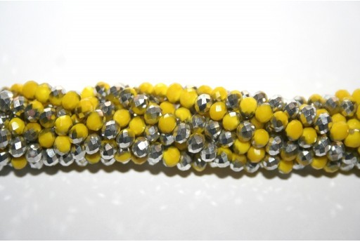 Chinese Crystal Beads Faceted Rondelle Yellow/Silver 4x3mm - 132pcs