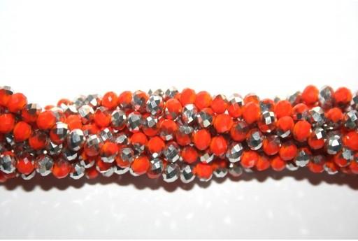 Perline Vetro Rondella Sfaccettata Arancio-Argento 4x3mm - 132pz