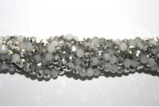 Perline Vetro Rondella Sfaccettata Bianco Opal-Argento 4x3mm - 132pz