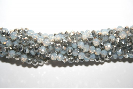 Chinese Crystal Beads Faceted Rondelle Grey Opal/Silver 4x3mm - 132pcs