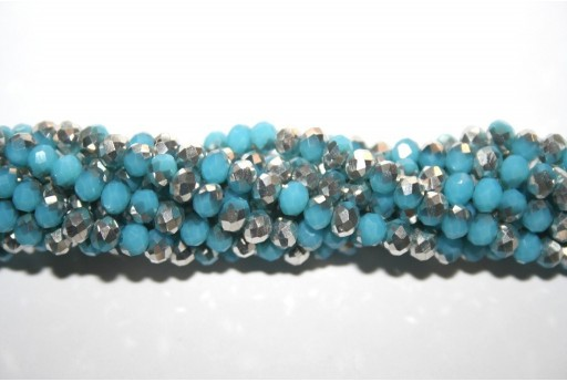 Chinese Crystal Beads Faceted Rondelle Sky Blue/Silver 4x3mm - 132pcs