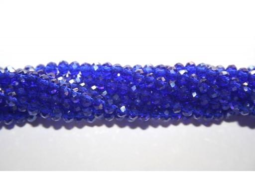 Perline Vetro Rondella Sfaccettata Blue Cobalto 4x3mm - 132pz