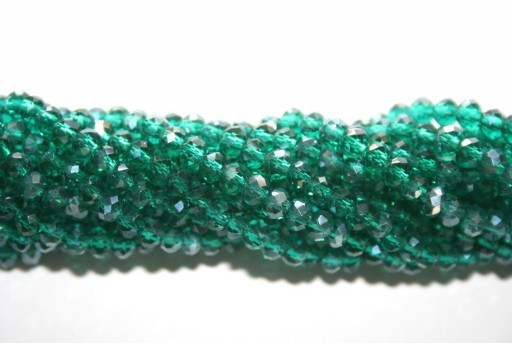 Chinese Crystal Beads Faceted Rondelle Green 4x3mm - 150pz