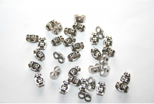 Steel Ear Back Stops 6x4,5mm - 20pcs