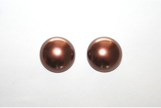 Cabochon Imitation Pearl Brown 14mm - 5pz