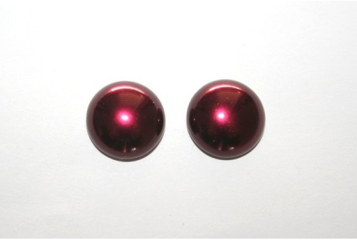 Cabochon Imitation Pearl Burgundy 14mm - 5pz