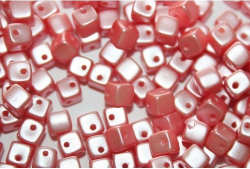 Crisscross Cubes Pastel Light Coral 4mm 50pcs