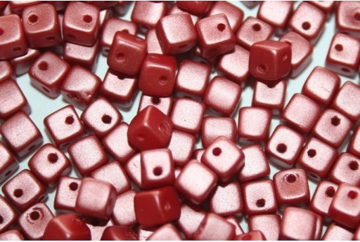 Crisscross Cubes Pastel Dark Coral 4mm 50pcs