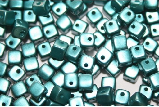 Perline Crisscross Cubi Pastel Emerald 4mm - 50pz