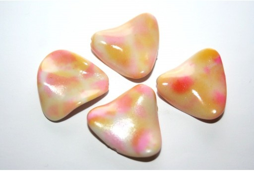 Acrylic Beads Triangle Pink/Beige 24x26mm - 10pz