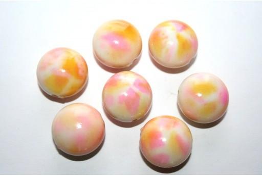Perline Acrilico Beige Rosa Tondo 18x11 - 10pz