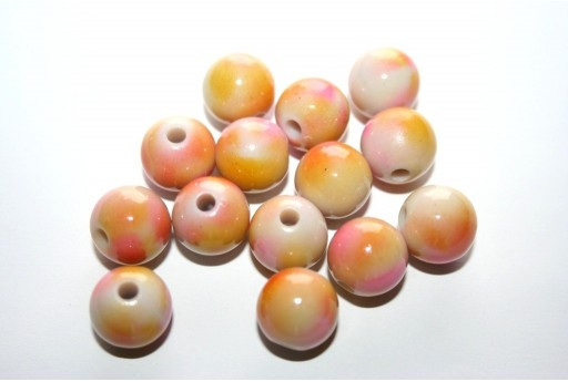 Perline Acrilico Beige Rosa Sfera 12mm - 14pz