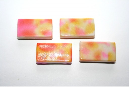 Acrylic Beads Rectangle Pink/Beige 25x14mm - 10pz