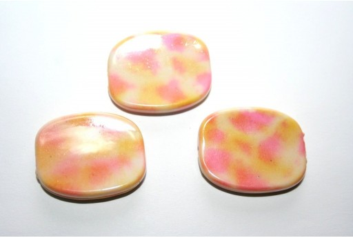 Acrylic Beads Rectangle Pink/Beige 26x21mm - 10pz