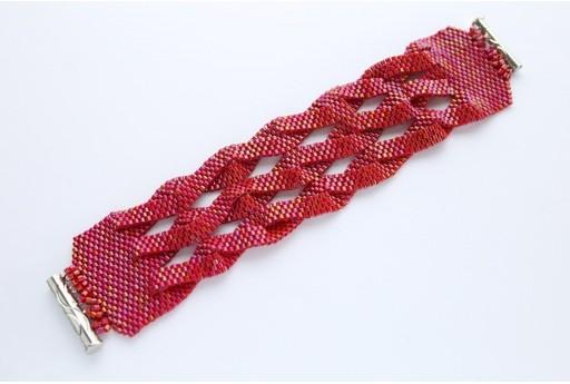 Kit Bracciale Intrecciato Delica Miyuki Opaque Red