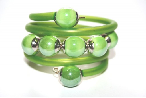 Green Rubber Cord Memory Wire Bracelet Kit