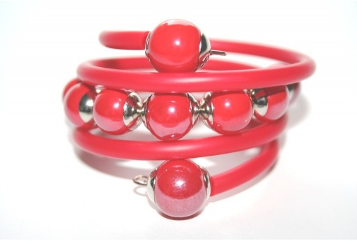 Red Rubber Cord Memory Wire Bracelet Kit