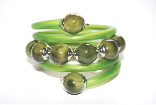 Dark Green Rubber Cord Memory Wire Bracelet Kit