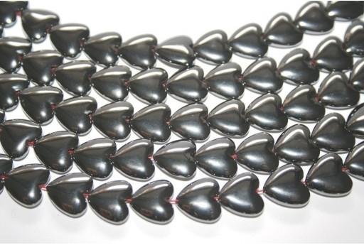 Hematite Heart Beads 12mm - 38pz