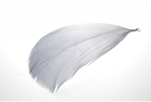 White Feather with End Grey 75mm - 4pcs