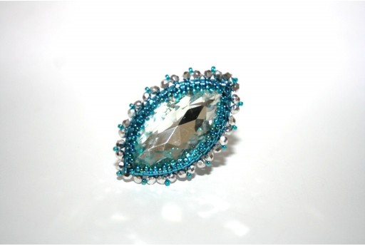 Crystal Navette and Delica Miyuki Blue Zircon Ring Kit