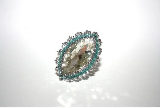 Crystal Navette and Delica Miyuki Green Aqua Luster Ring Kit
