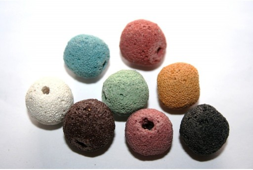 Lava Rock Beads Mix Color Round 16mm - 6pz
