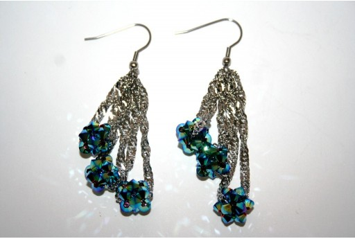 Swarovski Balls with Bicone beads Jet AB 2x- Earrings Kit