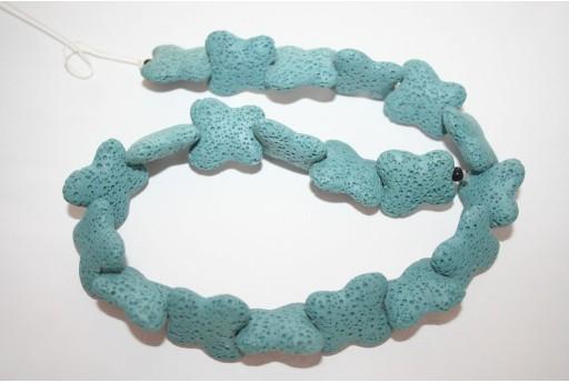 Lava Rock Beads Strad Blue Butterfly 21x20mm - 20pz