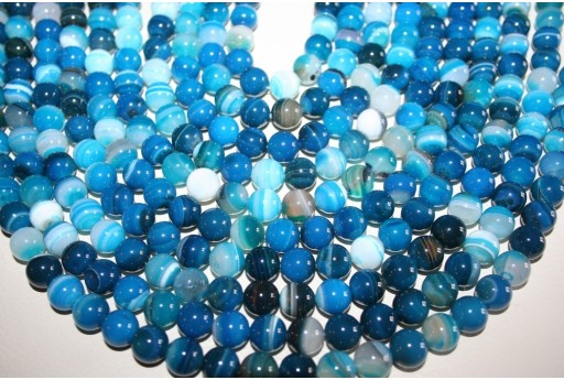 Agate Beads Veined Blue Sphere 10mm - 38pz